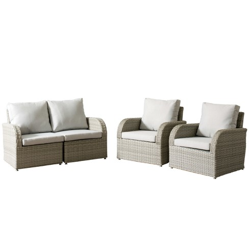 Pleasing Brisbane 4Pc Resin Wicker Loveseat And Chair Patio Set With Weather Resistant Fabric Corliving Cjindustries Chair Design For Home Cjindustriesco