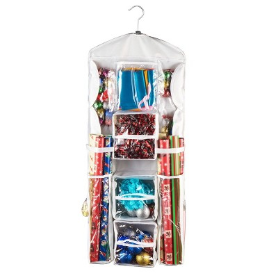 Double Sided Deluxe Hanging Gift Wrap and Bag Organizer Combo - Elf Stor