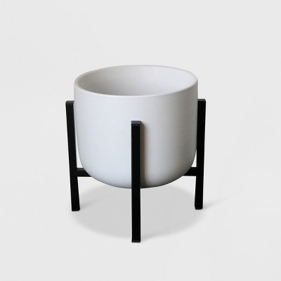 11  Ceramic Planter With Stand White/Black - Project 62™