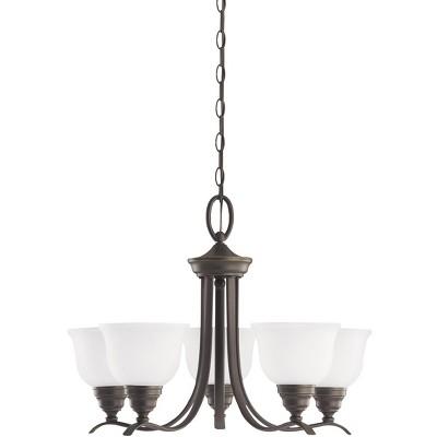Sea Gull Lighting Wheaton 5-Light 24'' Heirloom Bronze Single-Tier Ceiling Chandelier 31626-782
