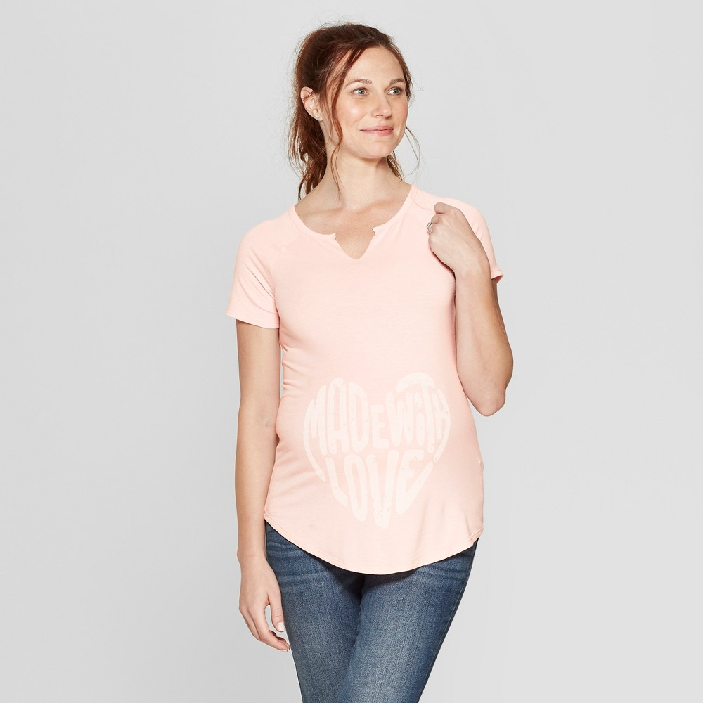 Maternity Short Sleeve Notch Neck Made With Love Graphic T-Shirt - Isabel Maternity by Ingrid & Isabel Pink M, Women's