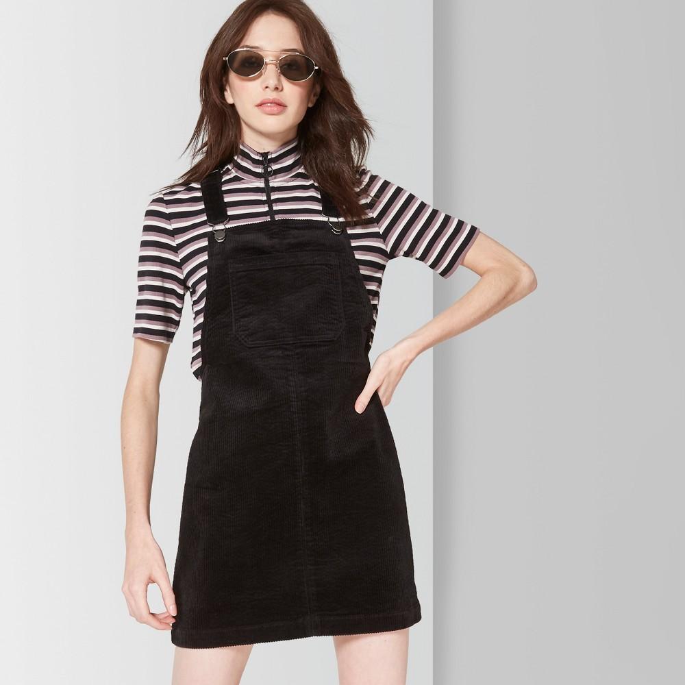 Women's Cord Pinafore A line dress - Wild Fable Black L