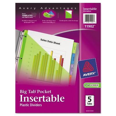Avery Insertable Big Tab Plastic Dividers w/Single Pockets 5-Tab 11 1/8 x 9 1/4 11902