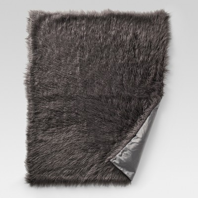 Gray Mongolian Faux Fur Throw Blankets (50 x60 )- Project 62™