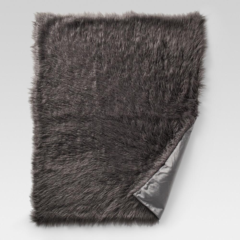 Gray Mongolian Faux Fur Throw Blankets (50