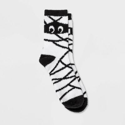 Women's Mummy Cozy Striped Halloween Crew Socks - Hyde & EEK! Boutique™ White 4-10