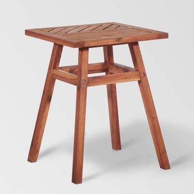 Coro Chevron Slatted Patio Side Table – Brown – Saracina Home