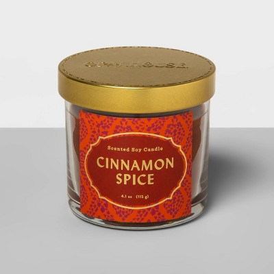 4.1oz Lidded Glass Jar Candle Cinnamon Spice - Opalhouse™