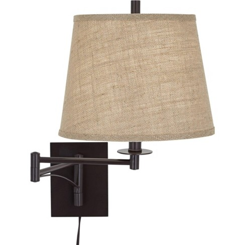 Franklin Iron Works Farmhouse Swing Arm Wall Lamp Matte Brown Plug-In Light Fixture Burlap Drum Shade for Bedroom Bedside Reading - image 1 of 4