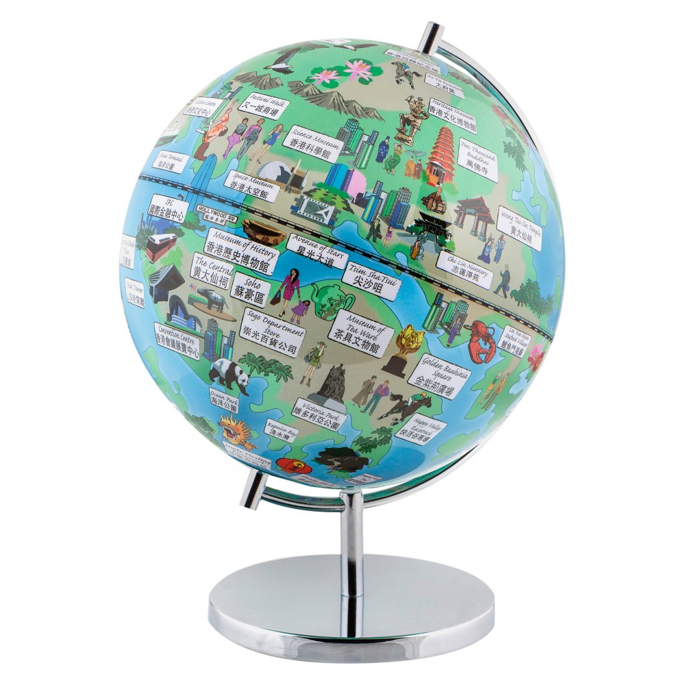 Globee Hong Kong 9 Illustrated Globe, Multi-Colored See Hong Kong at night in the form of an illuminated globe. The Hong Kong Night Light Globe is 9-inches in diameter and comes with a chrome silver stand. The globe depicts all the major landmarks and tourist sites of the city as well as the major streets and some of the famous characters associated with it and includes a 16 page informational booklet. Makes a wonderful gift or addition to any room. This globe is illuminated using Led lights within the globe and powered by Aaa batteries which are not included. You will never need to replace a light bulb! Color: Multi-Colored. Age Group: Adult.