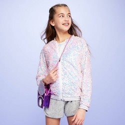 Girls' Sequin Bomber Jacket - More Than Magic™ White
