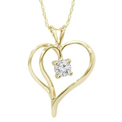 "Pompeii3 1/3Ct Solitaire Round Diamond Heart Pendant & Chain 14K Yellow Gold 1"" Tall"