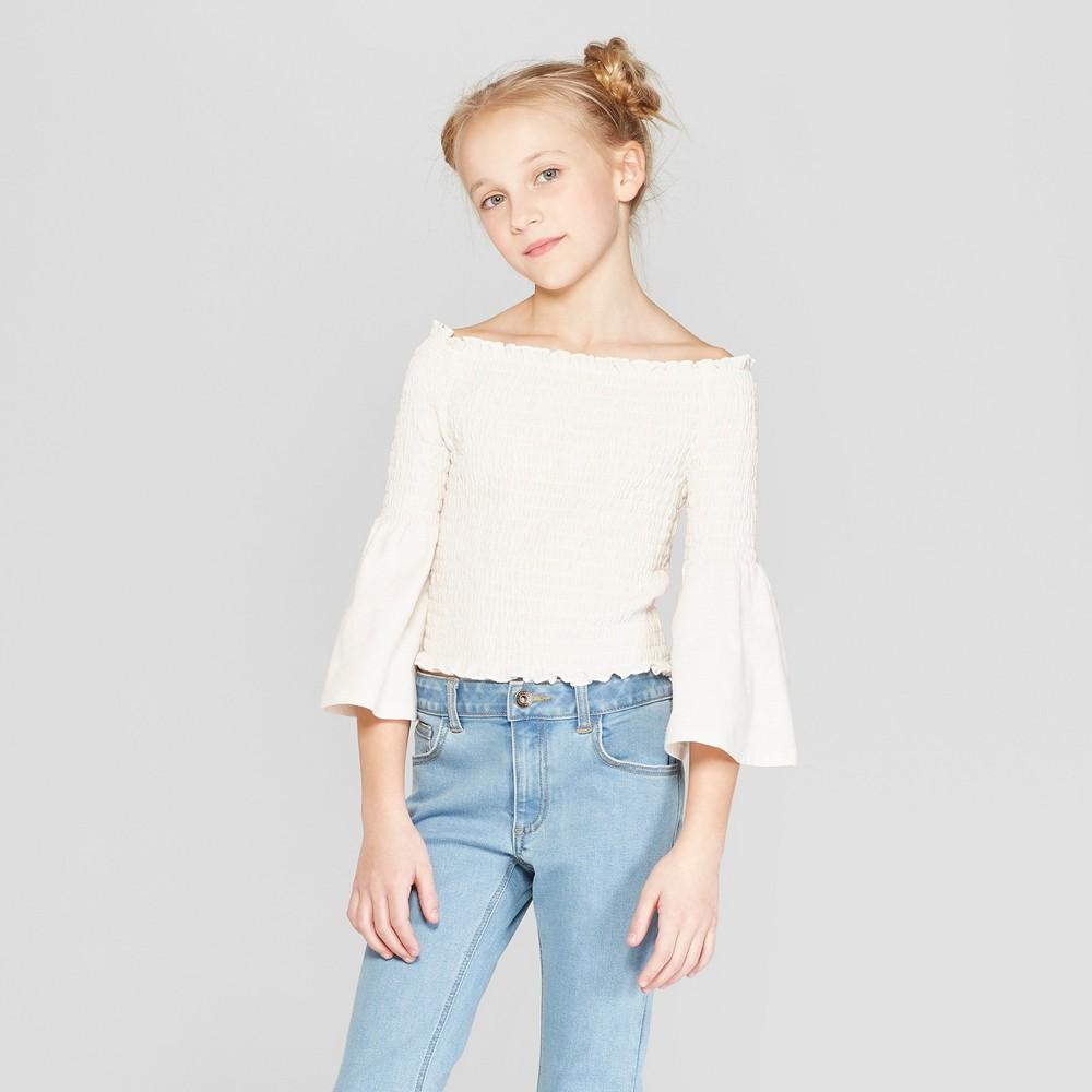 Girls' Smocked Long Sleeve Top - art class Cream L, Brown