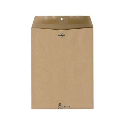 """Sustainable Earth Clasp Closure 100% Recycled Envelope 10"""" x 13"""" Natural Brown 100/BX 884782"""