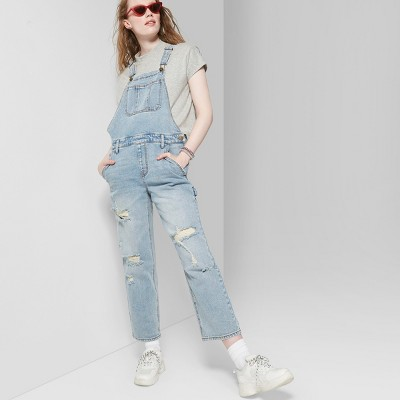 db1f178280 Women s Denim Overall Pants Relaxed Oversized Fit - Wild Fable™ Light Wash  S   Target