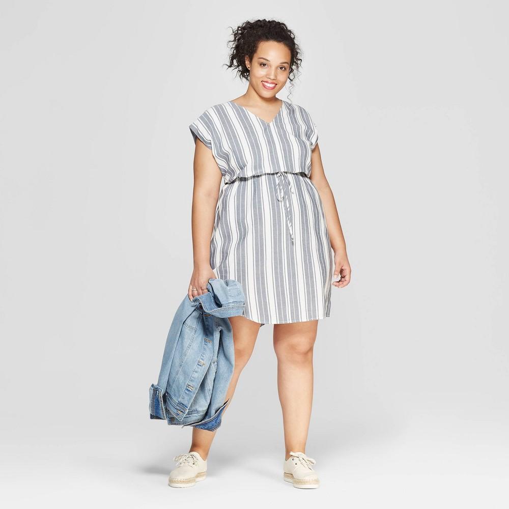 Women's Plus Size Striped Short Sleeve V-Neck Dress - Universal Thread Blue X