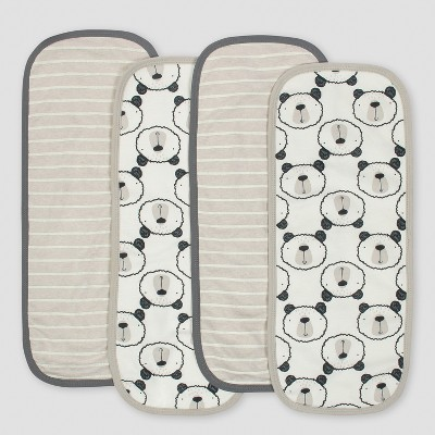 Gerber Baby Boys' 4pk Interlock/Terry Burpcloths Bear - Gray/Oatmeal