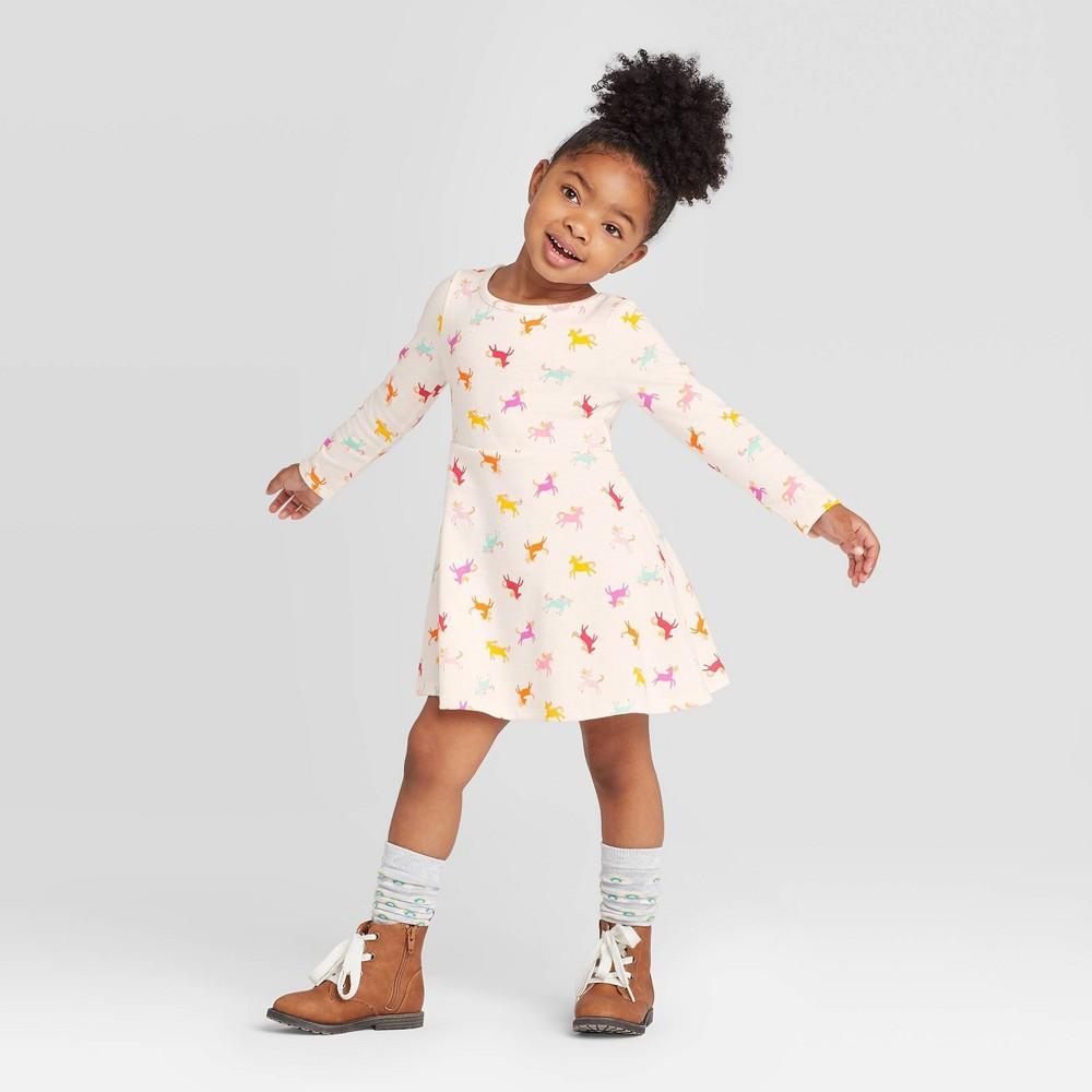 Image of Toddler Girls' Long Sleeve Unicorn Dress - Cat & Jack Cream 4T, Toddler Girl's, Beige