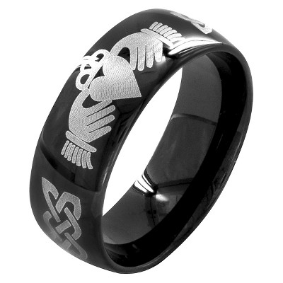 Men's Plated Stainless Steel Ring with Claddagh Design - Black