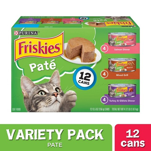 Purina Friskies Pate Wet Cat Food Variety Pack Salmon Turkey & Grilled - 55oz Cans - image 1 of 4