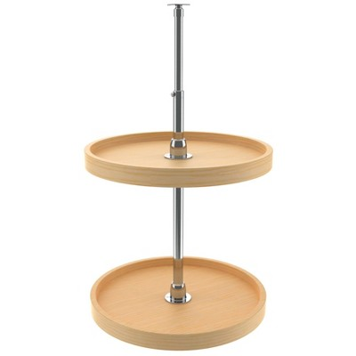 Rev-A-Shelf 4WLS072-18-52 18 Inch Wooden Full Circle 2 Shelf Spinning Lazy Susan Turntable Storage Organizer for Upper Wall and Corner Kitchen Cabinet