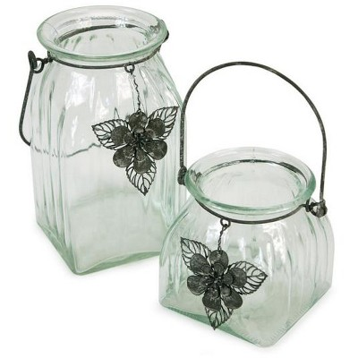 Melrose Set of 2 Tea Garden Hanging Glass Jar Pillar Candle Holders with Flower Charm Accents