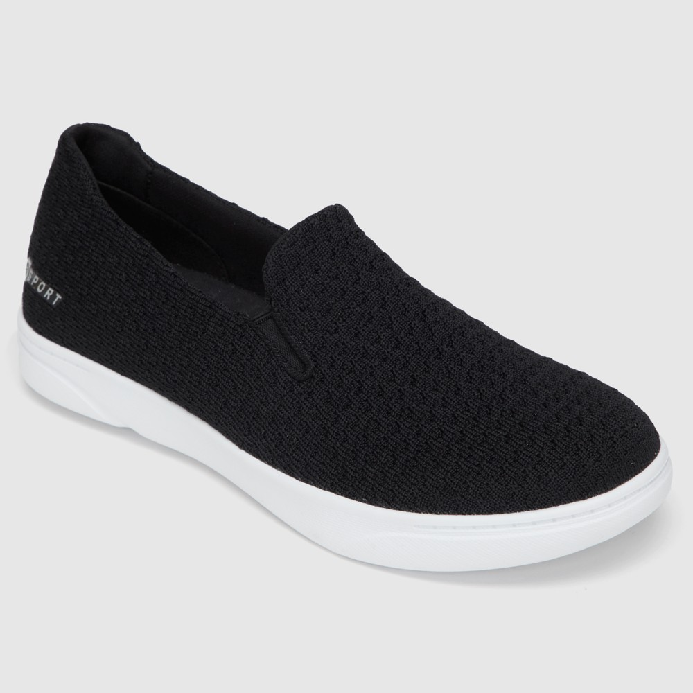 Women's S SPORT BY SKECHERS Rufina Slip on Knit Athletic Shoes - Black 12