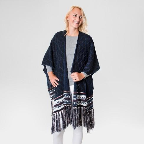 Womens Knit Fringe Ruana Muk Luks Target