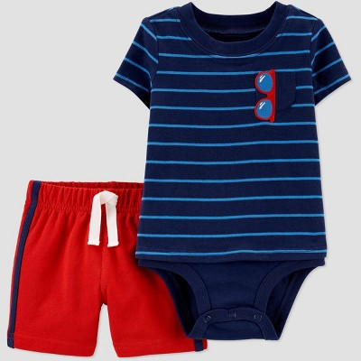 Baby Boys' 2pc 4th of July Striped Sunglass Top and Bottom Set - Just One You® made by carter's Blue/Red 3M