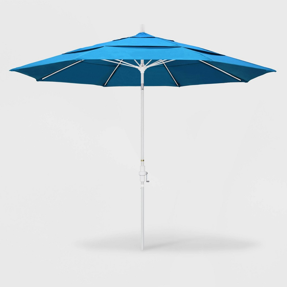 Image of 11' Sun Master Patio Umbrella Collar Tilt Crank Lift - Sunbrella Canvas Cyan - California Umbrella, Blue