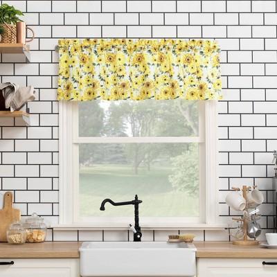 "14""x54"" Sunflower Print Semi Sheer Rod Pocket Kitchen Curtain Valance Yellow - No. 918"
