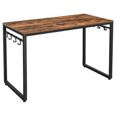 "47"" Wooden Computer Desk with Metal Frame Brown/Black - Benzara"