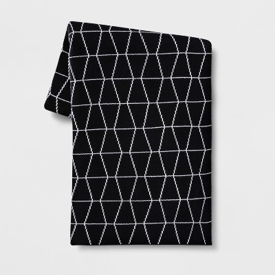 Reversible Knit Geo Throw Blanket Black/White - Project 62™