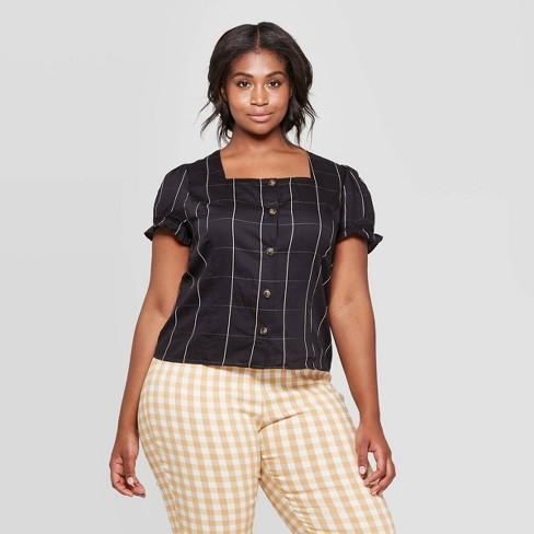 bec04d55a65e97 Women's Plus Size Gingham Short Puff Sleeve Square Neck Button Front Top -  Who What Wear™ Black X : Target