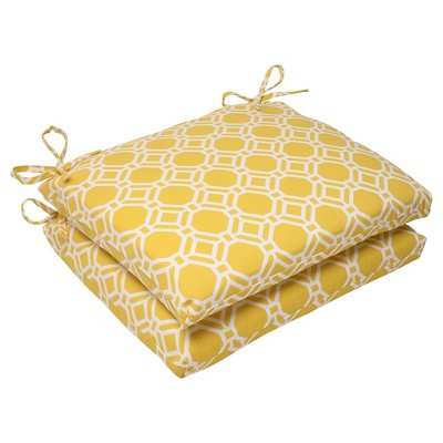Outdoor 2 Piece Square Seat Cushion Set   Yellow/White Rossmere Geometric :  Target