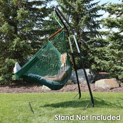 Caribbean Hanging Rope Hammock Chair - Green - Sunnydaze Decor