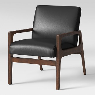 Peoria Wood Arm Chair Black Faux Leather - Project 62™