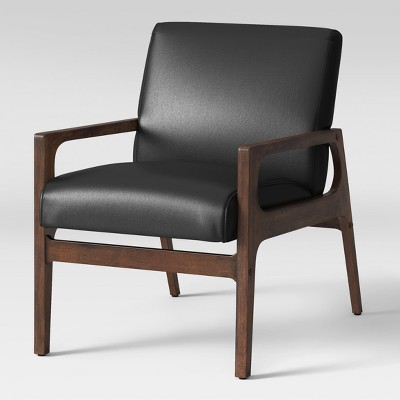 Peoria Wood Arm Chair Black Faux Leather   Project 62™