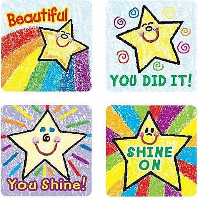 CARSON-DELLOSA Stars Motivational Stickers, Kid Drawn, All Grades 640