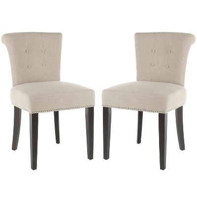 Sinclaire 21''H Side Chairs (Set of 2)   Silver Nail Heads - True Taupe - Safavieh