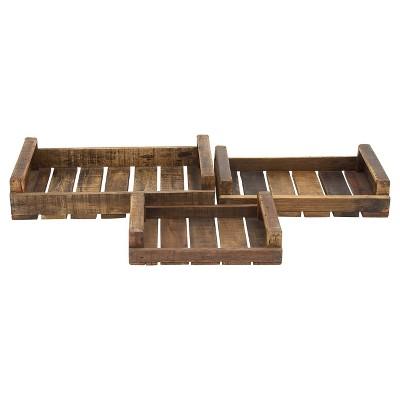 Farmhouse Rustic Wood Pallet Tray Set 3ct - Olivia & May