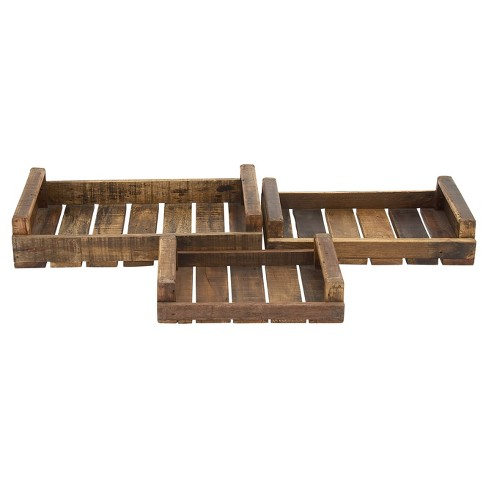 Farmhouse Rustic Wood Pallet Tray Set 3ct - Olivia & May - image 1 of 1