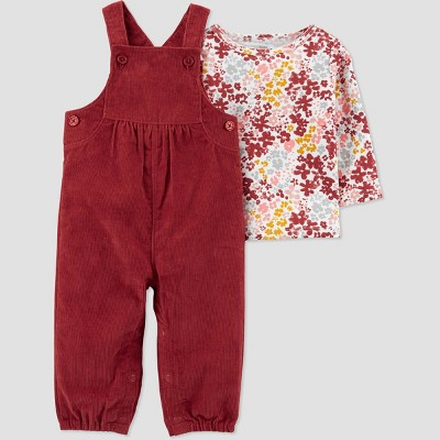 Baby Girls' Floral Top & Bottom Set - Just One You® made by carter's Rust Red 12M