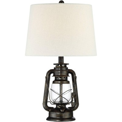 Franklin Iron Works Rustic Industrial Accent Table Lamp Miner Lantern Weathered Bronze Oatmeal Fabric Shade Living Room Bedroom