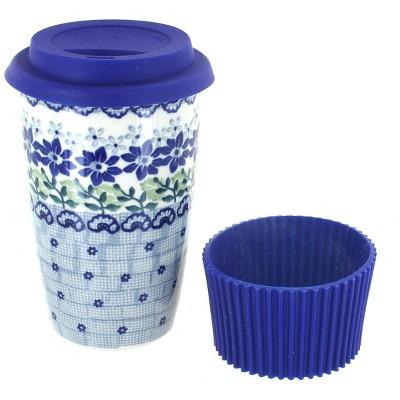 Blue Rose Polish Pottery Halsey Travel Coffee Mug
