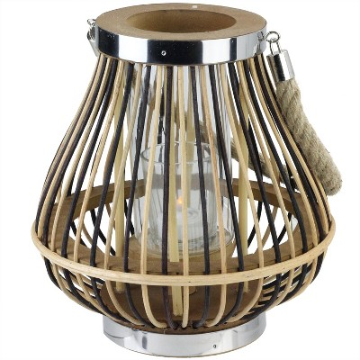 "Northlight 9.25"" Rustic Chic Pear Shaped Rattan Candle Holder Lantern with Jute Handle"