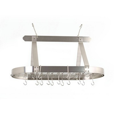Old Dutch International Satin Nickel Oval Hanging Pot Rack with Grid and 16 Hooks