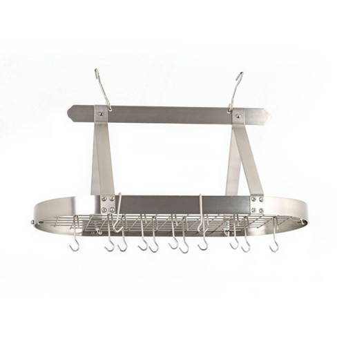 Old Dutch International Satin Nickel Oval Hanging Pot Rack with Grid and 16 Hooks - image 1 of 3