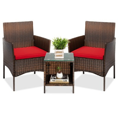 Best Choice Products 3-Piece Outdoor Wicker Conversation Bistro Set, Patio Chat Furniture w/ 2 Chairs, Table