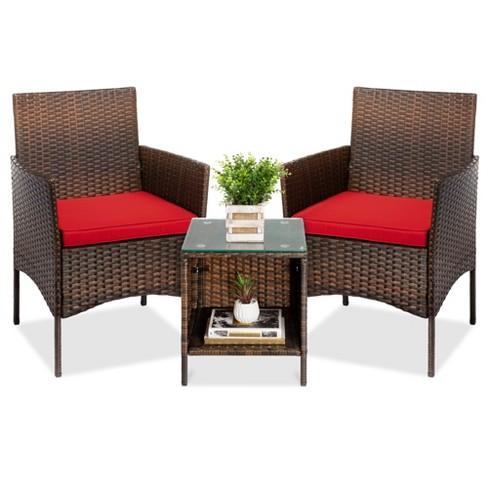 Best Choice S 3 Piece Outdoor, 3 Piece Wicker Patio Conversation Set With Beige Cushions